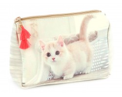Beige Kitten Vinyl Bag Accessory