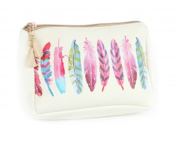 Multi Feathers Print Vinyl Bag Accessory