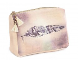 Pink Feather Vinyl Bag Accessory