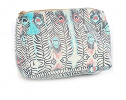 Turquoise Pink Feather Print Vinyl Bag Accessory