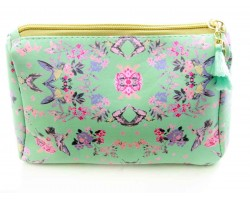 Light Green Floral Print Vinyl Bag Accessory