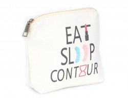 Beige Eat Sleep Contour Print Canvas Bag Accessory