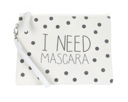 Beige I Need Mascara Print Canvas Bag Accessory