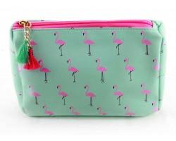 Pink Green Flamingo Print Vinyl Bag Accessory
