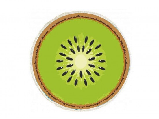 Green Kiwi Fruit Round Beach Blanke