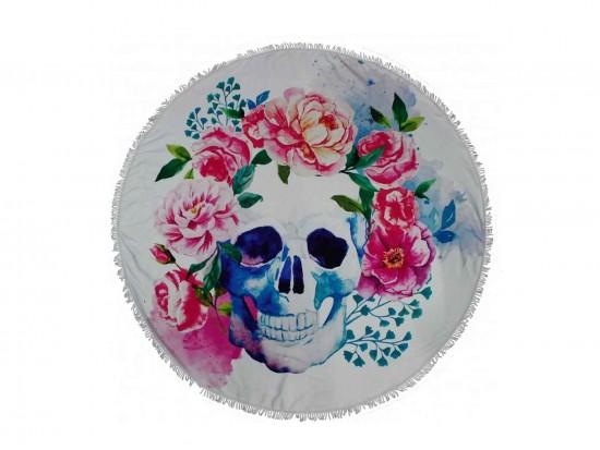 Multi Floral Skull Round Beach Blanket