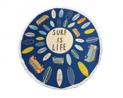 Multi Surf Is Life Round Beach Blanket