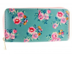 Multi Floral Print Vinyl Zipper Wallet