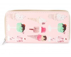 Ice Cream Theme Print Vinyl Clutch Wallet