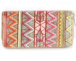 Multi Tribal Chevron Feather Vinyl Clutch Wallet