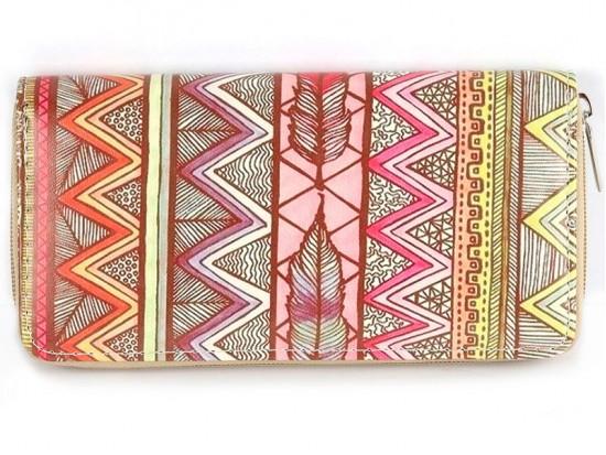 Multi Tribal Chevron Feather Vinyl Clutch Wallet