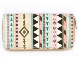 Multi Tribal Print  Vinyl Clutch Wallet