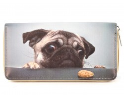 Cute Pug Dog Vinyl Clutch Wallet