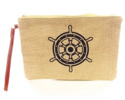 Navy Ship Steering Wheel Print Jute Bag