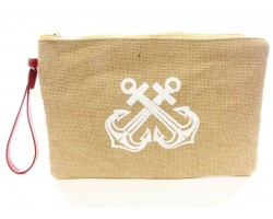 White Double Anchor Print Jute Bag
