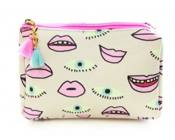 Pink Eyes Mouths Print Vinyl Bag Accessory