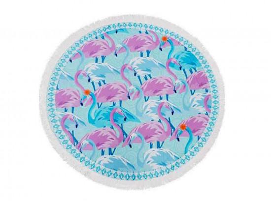 Pinks Flamingos Print Round Beach Blanket