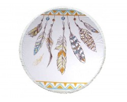 Multi Feathers Dream Catcher Round Beach Blanket
