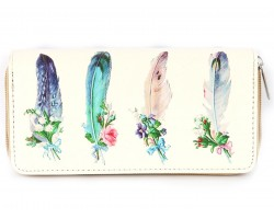 Multi Feathers Print Vinyl Zipper Wallet. 4 feathers