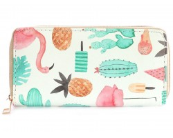 Flamingo Pineapple Ice Cream Vinyl Clutch Wallet