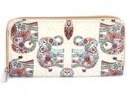 Multi Floral Elephant Pattern Vinyl Clutch Wallet