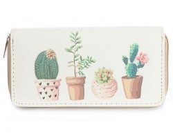 Gray Cactus in Pots Vinyl Clutch Wallet