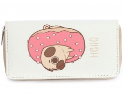 Pink Pug in Doughnut Vinyl Clutch Wallet
