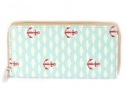 Turquoise Waves Anchors Vinyl Clutch Wallet