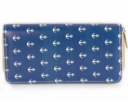 Navy Blue Anchor Print Vinyl Zipper Wallet