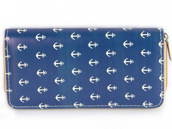 Navy Blue Anchor Print Vinyl Clutch Wallet