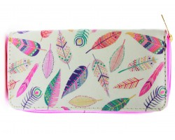 Multi Feathers Vinyl Clutch Wallet