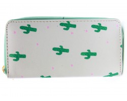 Green Cactus Print Vinyl Clutch Wallet