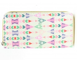 Multi Chevron Arrowhead Print Vinyl Clutch Wallet