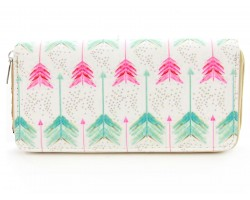 Pink Mint Green Arrows Vinyl Clutch Wallet
