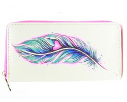 Pink Blue Feather Heart Vinyl Clutch Walle