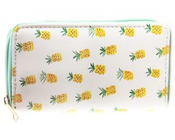 Yellow Pineapples Print Vinyl Zipper Wallet