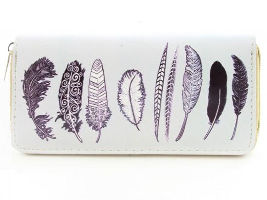 Black White Feathers Vinyl Zipper Wallet