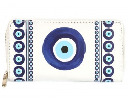 Blue Evil Eye Print Vinyl Clutch Wallet