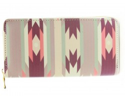 Pink Brown Beige Tribal Print Vinyl Clutch Wallet