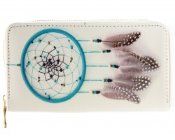 Turquoise Dream Catcher Vinyl Clutch Wallet