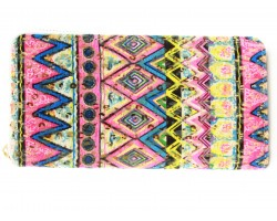 Neon Multi Chevron Print Vinyl Clutch Wallet