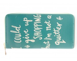 Teal Give Up Shopping Vinyl Clutch Wallet
