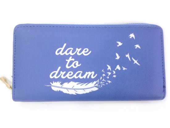 Blue Denim Dare to Dream Vinyl Clutch Wallet