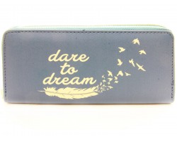 Gray Dare to Dream Vinyl Clutch Wallet