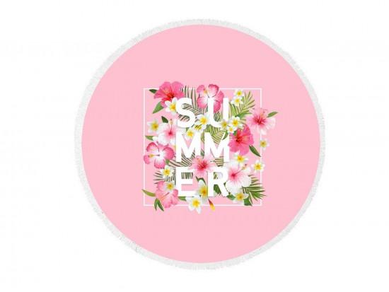 Pink Floral SUMMER Round Beach Blanket