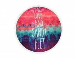 Multi Peace Love Sandy Feet Round Beach Blanket