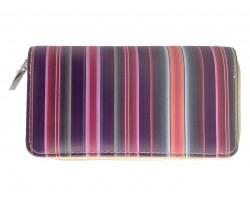 Multi Stripe Serape Pattern Vinyl Clutch Wallet