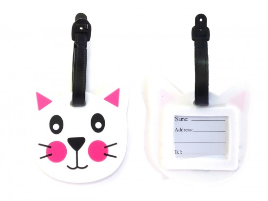 White Cat Face Silicon Luggage Tag