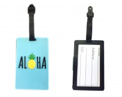 Turquoise Aloha Pineapple Silicon Luggage Tag