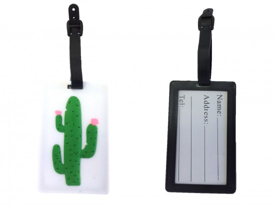 Green Cactus Silicon Luggage Tag